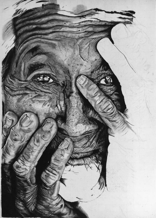 black and white wrinkled portrait for sale.