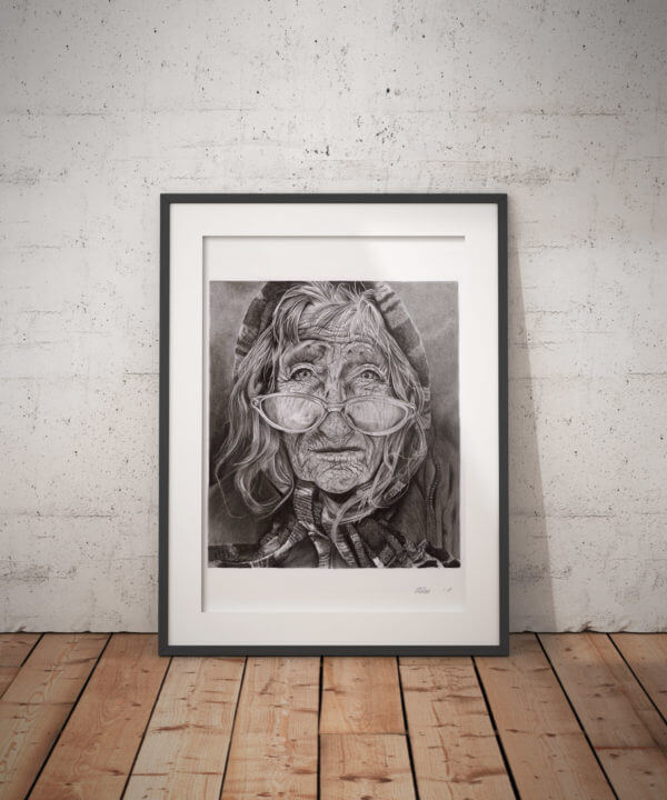 Wrinkled face drawing | charcoal portrait sketch