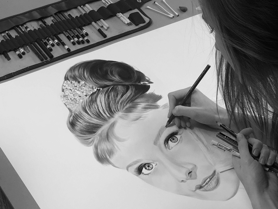 Audrey original hand-drawn illustration progress
