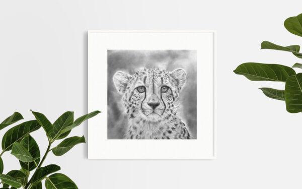 Large cheetah artwork| Wildlife original drawing