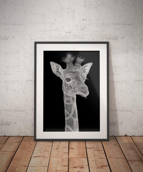 Giraffe drawing | Giraffe art print